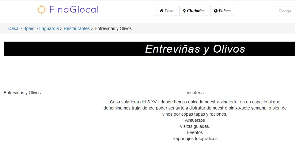 Entrada en FindGlocal
